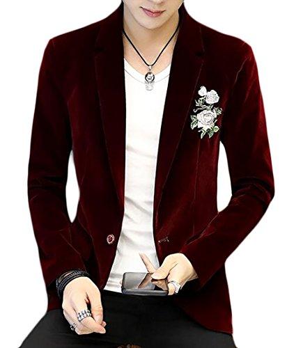 Yayu Mens Vintage Embroidered One Button Slim Fit Corduroy Blazer Jacket Wine Red XL