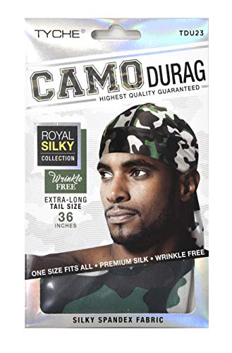 Tyche Silky Durag Royal Silky Collection Ultra Stretch Green and White Camo