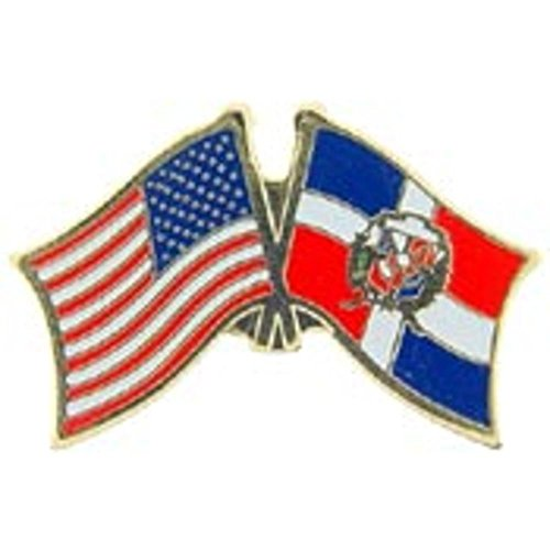 American & Dominican Republic Flags Pin 1