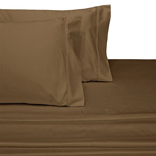 Deluxe and Super Soft Brushed Microfiber Attached Waterbed Sheet Set with Pole Attachment, 4 Piece King Size, Taupe