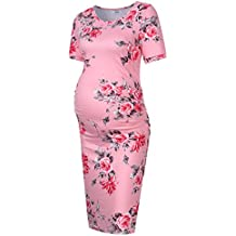 MissQee Maternity Dress Ruched Round Neck Maternity Dresses