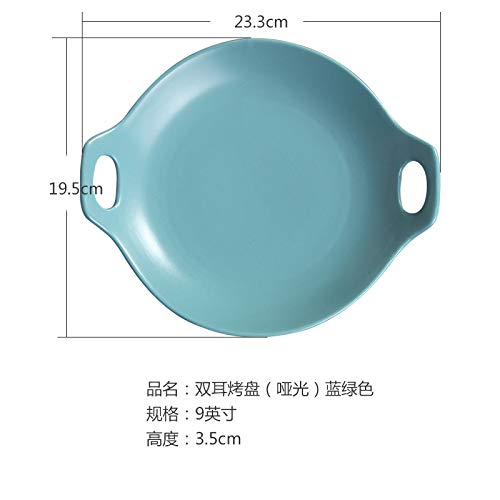 (Ceramic plate Western dish single ear plate pasta Japanese style dish shallow mouth plate salad ins tableware 12.8x7cm blue green)