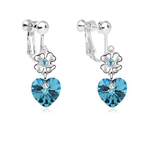 Latigerf Girl or Kid Heart Flower Screw Back Clip on Earring Non-Pierced Austrian Crystal Aqua Blue ()