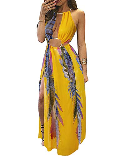 6d2b7deba4 BIUBIU Women s Boho Floral Halter Summer Beach Party Split Cover Up Dress  S-XL (