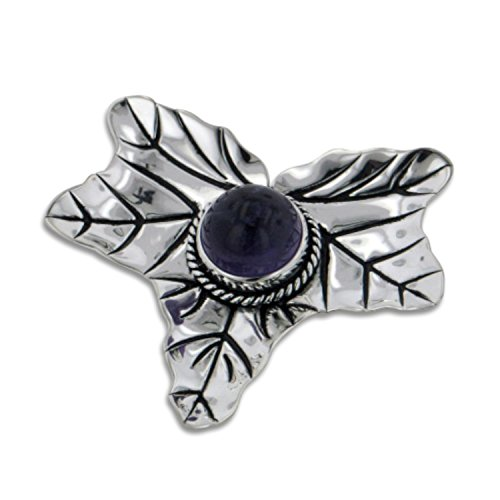 Large Maple Leaf with Genuine Amethyst Sterling Silver Slide - Amethyst Slide Sterling Silver Genuine
