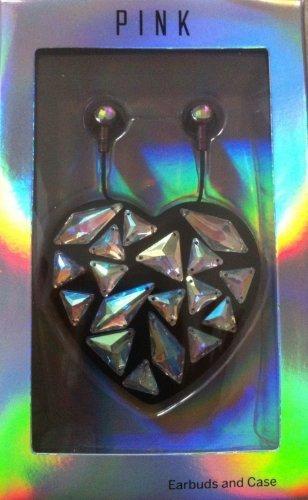 - Victoria's Secret PINK Earbuds & Heart Case Bling Black Holographic Gem + BONUS VS Decal