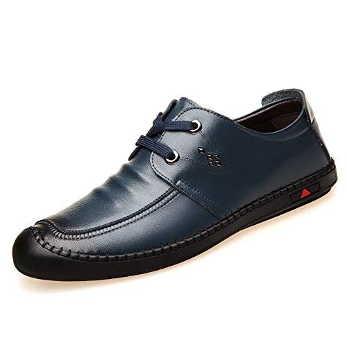 gli 42 Dimensione uomini per comoda Colore Zipper Casual Scarpe Office Business Qiusa EU rotonda di cuoio punta Blu Loafer qgIxUnwf