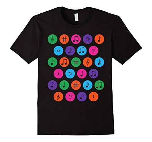 Mens Ploka dots music musical notes tee t shirt multicolor dot XL Black (Ploka Dot)