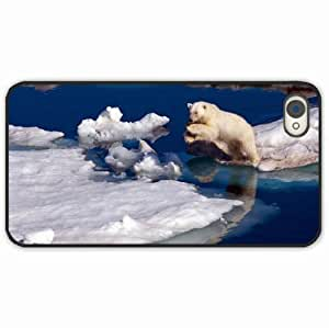 iPhone 4 4S Black Hardshell Case polar snow jump water Black Desin Images Protector Back Cover