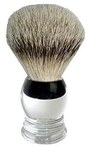 Fantasia 84031 - Brocha de afeitar con mango de fibra acrílica y cerdas de tejón (10 cm, ø 3,5 cm), color plateado y negro