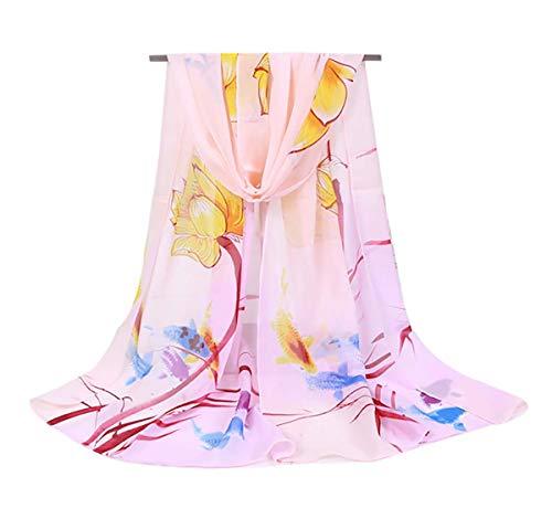 (Women's Chiffon Scarf Lightweight Fashion Sheer Scarfs Shawl Wrap Scarves (Pink))