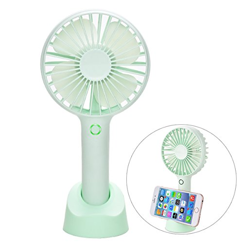 YIHunion Mini Handheld Fan Portable USB Rechargeable Battery Powered Fan with Base, 2500mAh Battery,4 Modes for Home, Office, Bedroom and Outdoor - Lithium Ion Hour Mobile