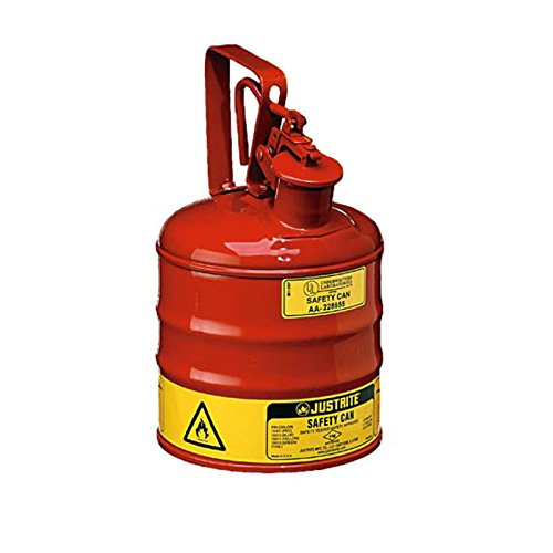 Safety Cans - Justrite 1 Gallon Red Self Close Type I Safety Can w/ Trigger Handle - SAFETY-JR-10301