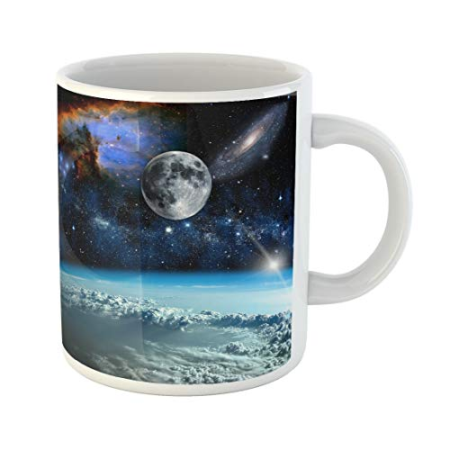 Semtomn Funny Coffee Mug Space Landscape View From Earth of This Furnished 11 Oz Ceramic Coffee Mugs Tea Cup Best Gift Or Souvenir ()