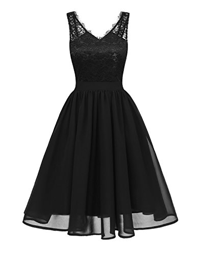 Gorgeous Bridal Women's Vintage Floral Lace Contrast Cocktail Party Swing Casual Evening Dresses-S-Black