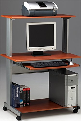 Mayline Multimedia Computer Cart 36 3/4''W X 21 1/4''D X 50 1/2''H Features Plenty Of Space For Wide Screen Monitor/Laptop Computer - Medium Cherry by Mayline