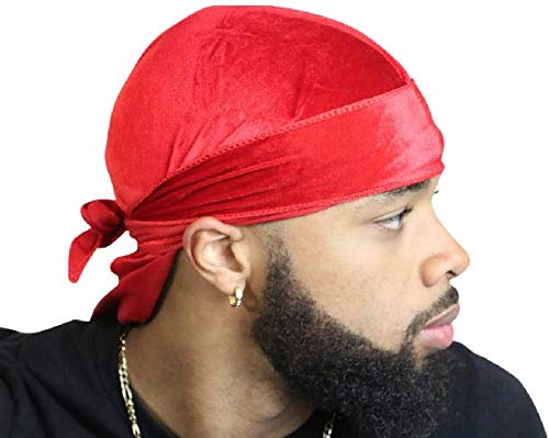 Velvet Durag 360, 540, and 720 Waves Extra Long and Wide Straps Limited Edition Red Green Purple Blue Yellow -