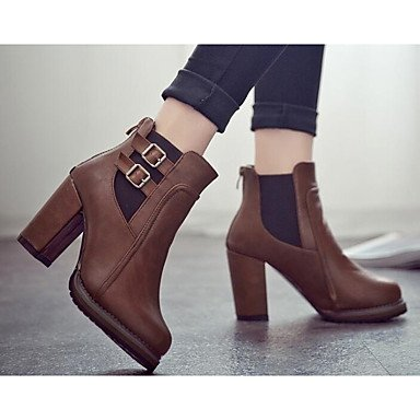 amp;xuezi Fall Winter PU Boots Casual Comfort Leather Women's Gll Black Fashion Boots Black Flat Real Brown YqHdYAx