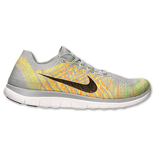 Nike Men's Free 4.0 Flyknit, WOLF GREY/BLACK-VOLT-ELECTRIC GREEN, 7.5 M US
