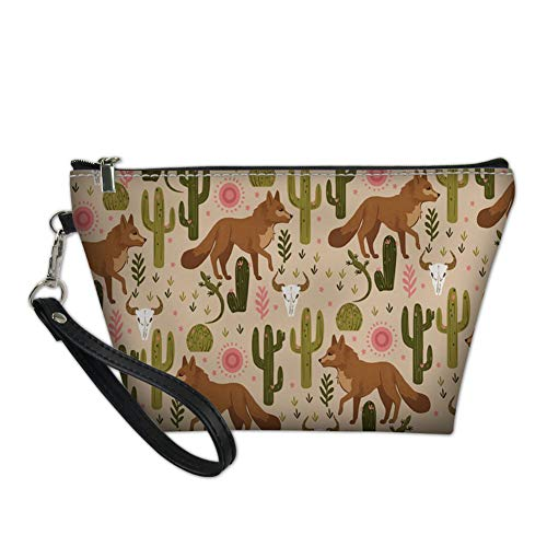 - Coloranimal Cute Coyote Cutie Printed Travel Cosmetic Make Up Bag Small Zipper Closure Carrier Clutch Pouch Handbags