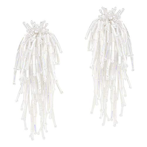 Beautiful Cascading Cluster of White Metallic Beads Clip-on Earrings
