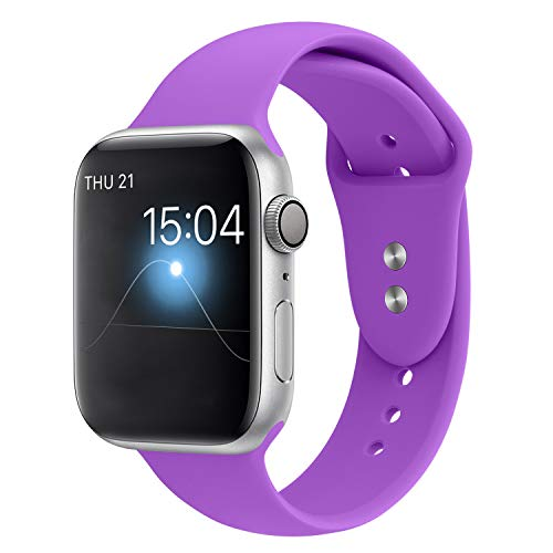 YOUKEX Sport Band Compatible with Apple Watch 38mm/40mm, Soft Silicone Strap Wristbands Replacement for iWatch Series 4/3/2/1 Women Men, (Crocus Purple S/M)