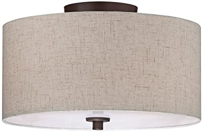 """Bronze with Off White Shade 14"""" Wide Ceiling Light Fixture"""