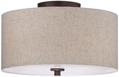 "Sylvan 14""W Off-White Oatmeal Drum Bronze Ceiling Light"
