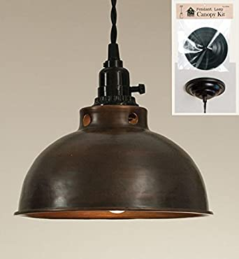 dome pendant light in aged copper with canopy kit for direct wiring. Black Bedroom Furniture Sets. Home Design Ideas