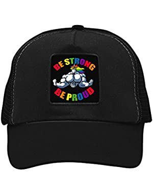 Unisex Be Proud Strong Unicorn Trucker Hat Adjustable Mesh Cap