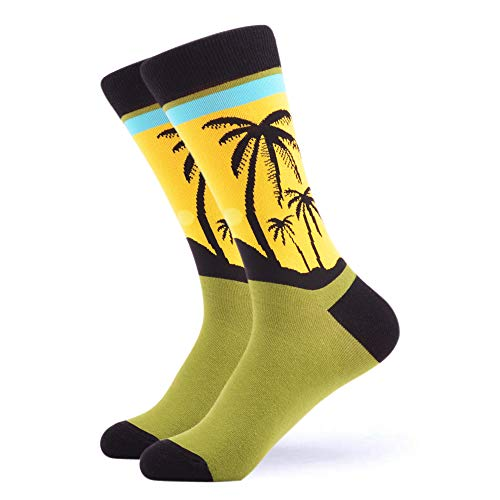 WeciBor Men's Dress Cool Colorful Fancy Novelty Funny Casual Combed Cotton Crew Socks (Coconut tree 1) by WeciBor (Image #4)