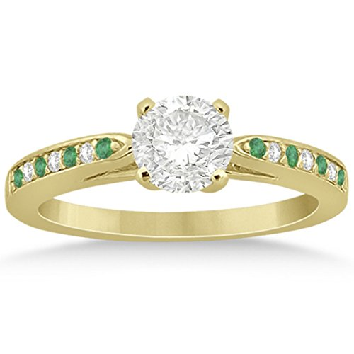 (Cathedral Design Emerald and Diamond Side Stone Engagement Ring in 18k Yellow Gold 0.22ct )