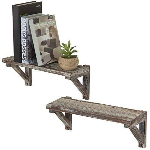 - MyGift Rustic Torched Wood Wall-Mounted Storage Display Shelves with Wooden Brackets, Set of 2