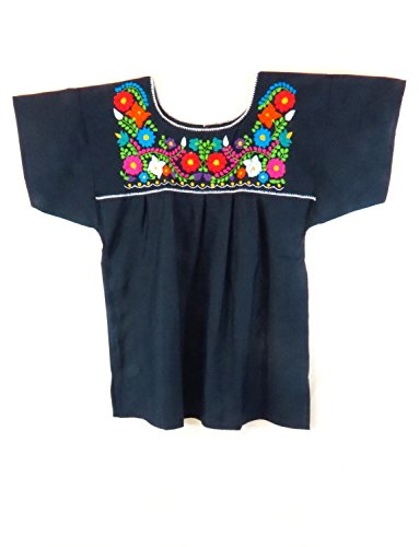Mexican Embroidered Blouse (Ethnic Identity Mexican Blouse Puebla by (XX-Large, Navy Blue))
