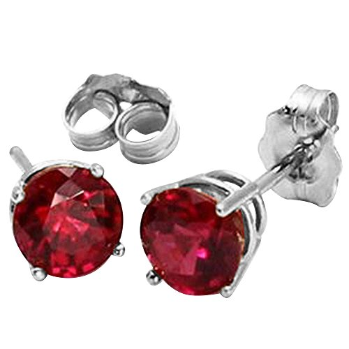 14K White or Yellow Gold Lab Grown Ruby Stud Earrings, 6mm (white-gold) ()