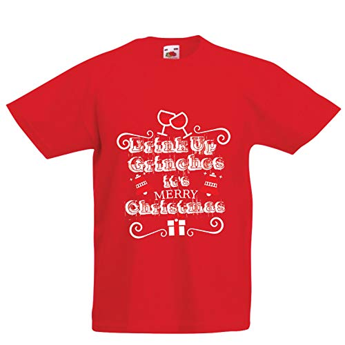 lepni.me Kids T-Shirt Drink Up Grinches - It's Merry Christmas (12-13 Years Red Multi Color) -