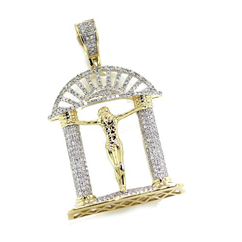 Midwest Jewellery 10K Gold Jesus Pendant Jesus of Nazareth 1.05ctw Diamond Crucifix with ()