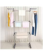Kentaly Clothes Drying Rack, Large 3-Tier Rolling Folding Dryer Hanger Storage Standing Rack with Foldable Wings and Casters for Indoor Outdoor