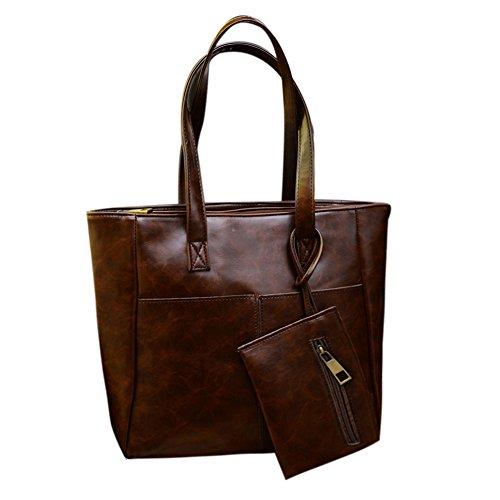 PU Brown Winter Retro Leather Mini Autumn Clutch Dark New Demiawaking 2pcs Handbag Large Women Bag Xq1Tpg