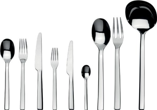 Alessi ''Ovale'' Flatware Set Of Twelve Table Spoons, Table Forks, Table Knives, Dessert Forks, Dessert Knives, Coffee Spoons and one Ladle, Serving Spoon and Fork in 18/10 Stainless Steel, Silver by Alessi