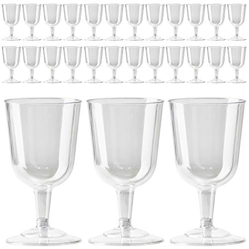 Plastic Wine Glasses Bulk Cheap (DecorRack 24 Wine Glasses, 6 Oz -BPA Free- Plastic Party Wine Cups, Perfect for Outdoor Parties, Weddings, Picnics, Stackable, Reusable, Disposable Stemmed Clear Wine Glasses (Pack of)