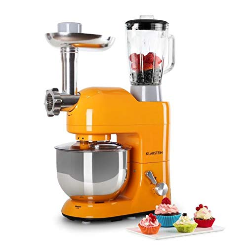 KLARSTEIN Lucia Orangina • Multifunction Stand Mixer • Kitchen Machine • 650 Watts • 5.3 qt Bowl • 1.3 qt Mixing Glass • Meat Grinder • Pasta Maker • Blender • Adjustable Speed • Orange