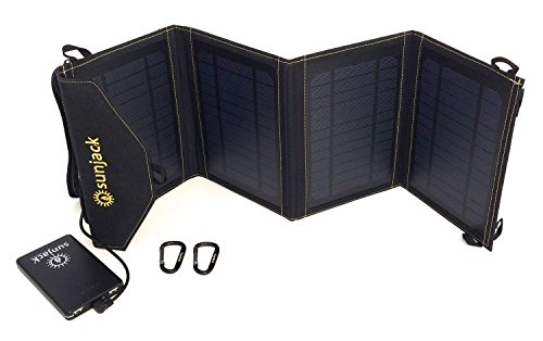 SunJack 14W Solar Charger + 8000mAh Power Bank - Portable Solar Panel with USB for Cell Phones, iPad Battery, Backpacking, Camping, Hiking