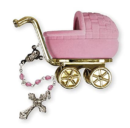 Rosario para bautizo, rosario rosa con forma de Pram, rosa, para niña