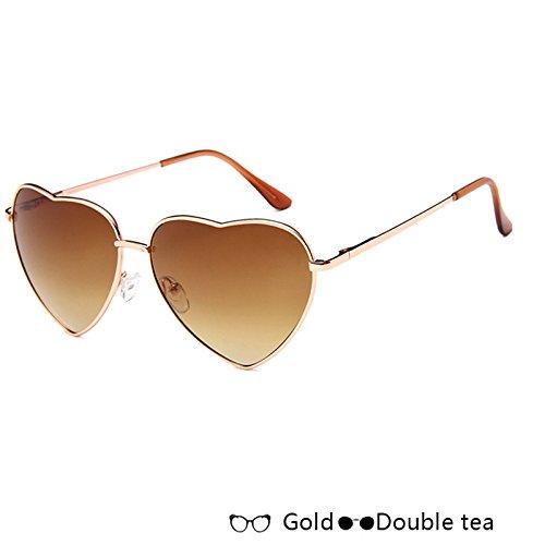 Azul De De Sol De Lujo Forma En Atrás Corazón De Moda tea Rosa Gafas Double Sol Mujer W W Gafas De Oro TIANLIANG04 Gold XpxUPZ