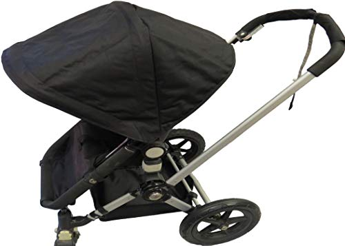 Black Sun Shade Canopy with Wires and Under Seat Storage Basket Plus Free Handle Bar Covers for Bugaboo Cameleon 1, 2, 3, Frog Baby Child Strollers by Ponini (Image #4)