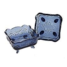 JustNile Distressed Vintage Floral & Fruit Embossed Glass Candy/Coin/Key Dish Bowl - Set of 2, Blue