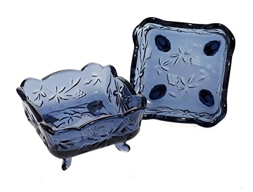 Vintage Floral & Fruit Embossed Glass Candy/Coin/Key Dish Bowl - Set of 2, Blue (Decorative Dishes)