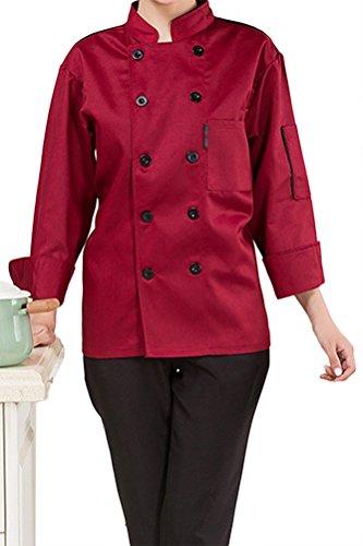Nanxson(TM) Unisex Damen Herren Baumwolle Kochjacke langarm Kochkleidung  Uniform Berufsbekleidung mit Tasche CFW1003 4cb8b0b202