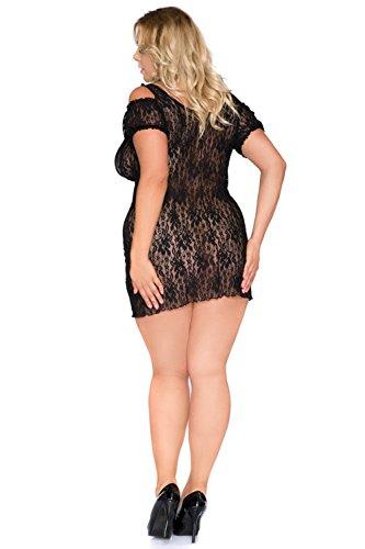 donna Size Babydoll con nero trasparente Schwarz in Plus pizzo pizzo Xxl zgrYzq
